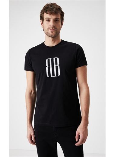 Boris Becker Slim Fit Baskılı T-shirt Siyah